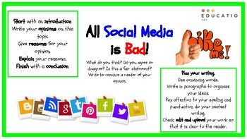 Social Media Persuasive Writing Prompt (NAPLAN Prep)