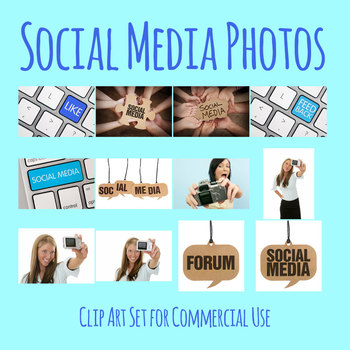 Social Media Photos / Photographs Clip Art Set for Commercial Use