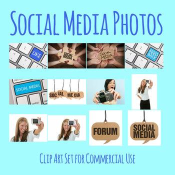 Social Media Photos / Photographs Clip Art Set for Commercial Use