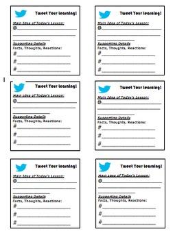 Social Media Post-It Exit Tickets (Twitter/Instagram)