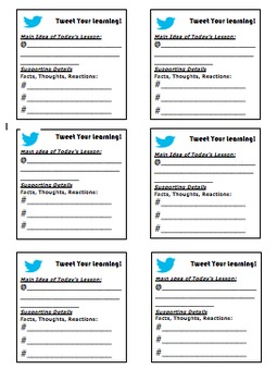 Social Media Post-It Exit Tickets (Twitter/Instagram)