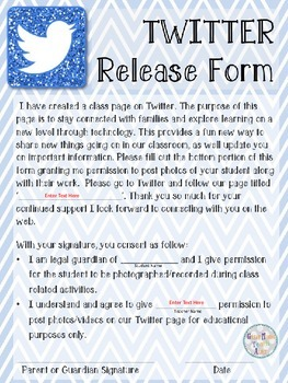 Social Media Release Forms (Twitter,Facebook,Instagram) Updated | TpT
