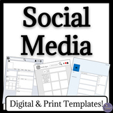 Social Media Textual Analysis Worksheets for Instagram, Fa