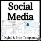 Social Media Textual Analysis Worksheets for Instagram, Fa