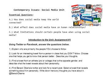 Social Media Unit Lessons Using The Social Network Current Contemporary Issues