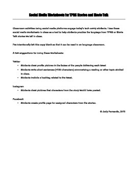 Social Media Worksheets for TPRS Stories and Movie Talk