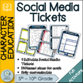Social Media set of 9 Exit Ticket Student Activity Cards/ Slips