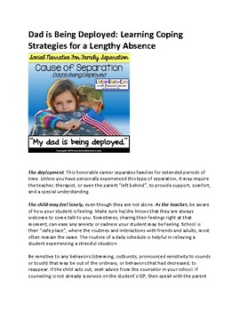 Social Narrative for Autism and Special Education MILITARY DEPLOYMENT OF DAD