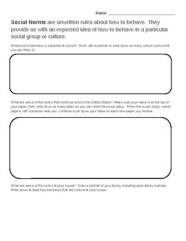 Social Norms Brainstorming Worksheet
