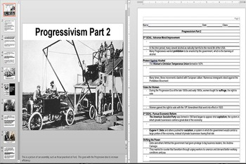 Social Political and Economic goals of the Progressive Movement PPT & Worksheet