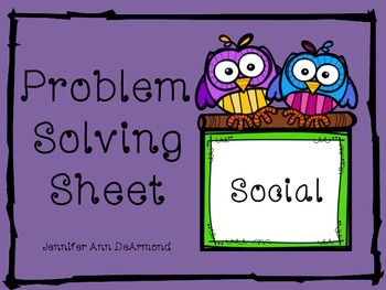 Social Problem Solving Sheet