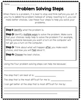 Social Problem Solving Worksheets {Free!}