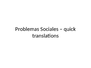 Social Problems including Environment translations