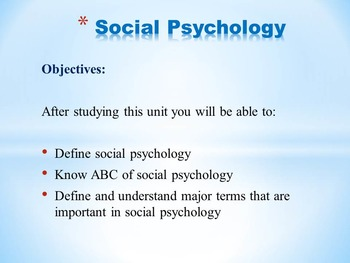 Social Psychology - ABC - Important Terms