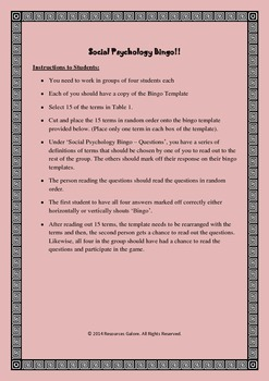 Social Psychology Bingo!