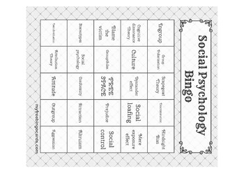 Social Psychology Bingo