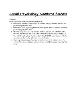 Social Psychology Review Game