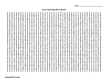Social Psychology Vocabulary Word Search for Psychology
