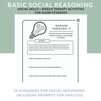 Speech Therapy Social Skills  for Older Students - Social Reasoning