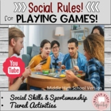 Social Rules Sportsmanship for Playing Games Middle High School