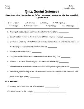 Social Sciences Quiz