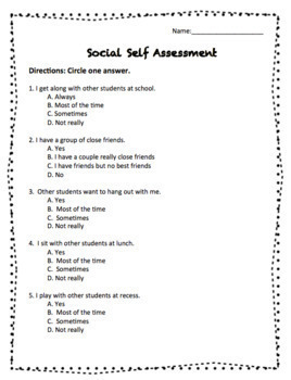 Social Self Assessment for Students