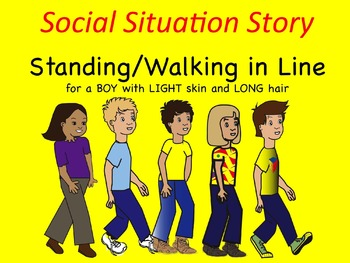 Social Situation Story: Walking/Standing in Line BOY w/ LIGHT skin & LONG hair