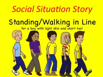 Social Situation Story: Walking/Standing in Line BOY w/ LIGHT skin & SHORT hair