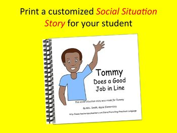 Social Situation Story: Walking/Standing in Line boy w/ dark skin & short hair