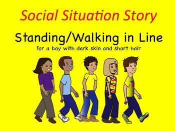 Social Situation Story: Walking/Standing in Line boy w/ da
