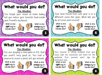 Social Situation and Empathy Skills Task Cards- Great for Morning Meeting!