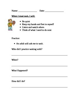 Social Skill Homework:  Waiting