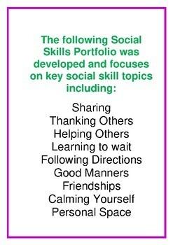 Social Skill Portfolio  - 40 Pages - Autism Resource