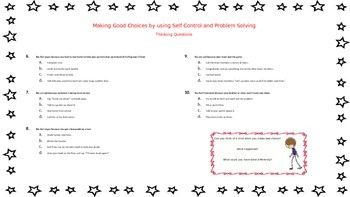 Social Skill: Self Control/Problem Solving Lesson and Worksheet