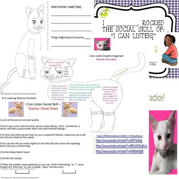 Social Skill/Story I Can Listen! Worksheets Packet Rescue Dogs ELD/SPED/Autism