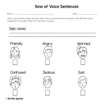 social skills worksheets tone of voice by the pedi speechie tpt. Black Bedroom Furniture Sets. Home Design Ideas