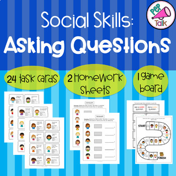 Asking WH Questions: Social skills task cards, homework, and game