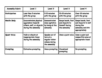 Social Skills Assembly Rubric and Tracking
