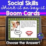 #June2021halfoffspeech Social Skills BOOM Cards Think It o