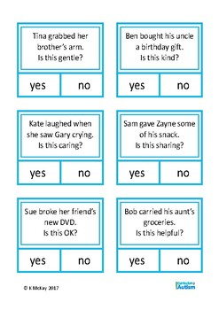 Social Skills Behavior Yes No Cards, Autism, Special Education