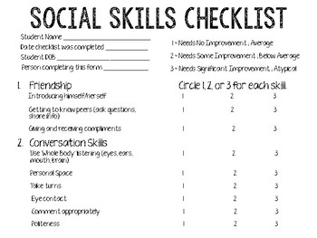 Social Skills Checklist/Rating Scale