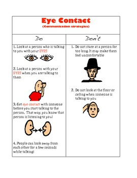 Social Skills - Eye Contact by Jamie's Teaching Materials ...