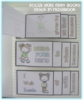 Social Skills Flippy Books with Manners/Expectations Posters COMBO BUNDLE