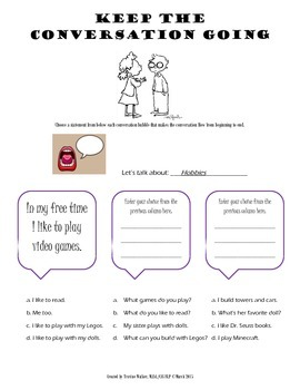 Social Skills Freebie - Keep the Conversation Going