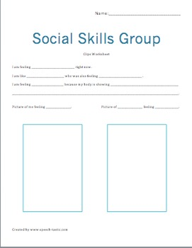 Social Skills Group, Character Worksheet