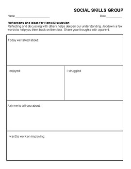 Social Skills Group Reflection Sheet and Communication Log