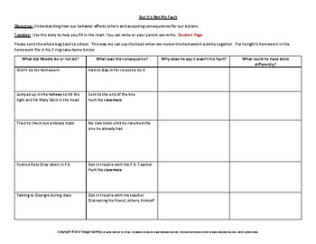 Social Skills Homework Packet Accepting Consequences, Behavior affects others