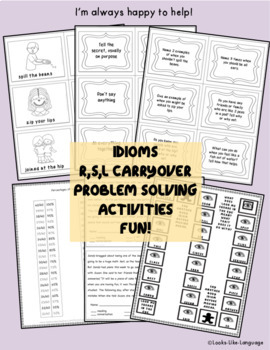 Social Skills Activities: Idioms & Problem Solving, Carryover for R, S, L Sounds