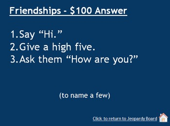 Social Skills Jeopardy Game