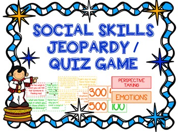 Social Skills Jeopardy/Quiz Game for Speech Therapy, Counseling - HFA, ASD